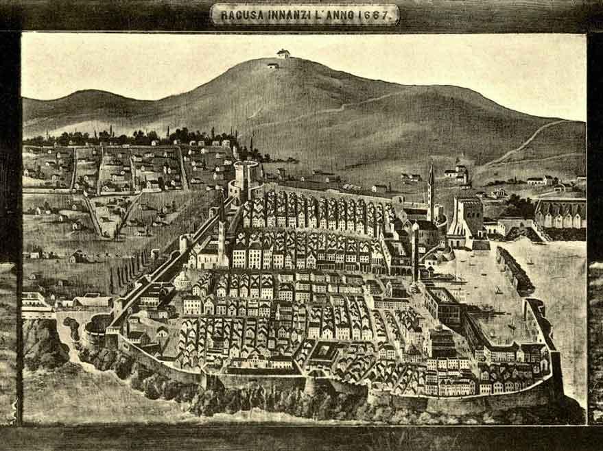 Grabado de la ciudad de Ragusa. Wikimedia Commons