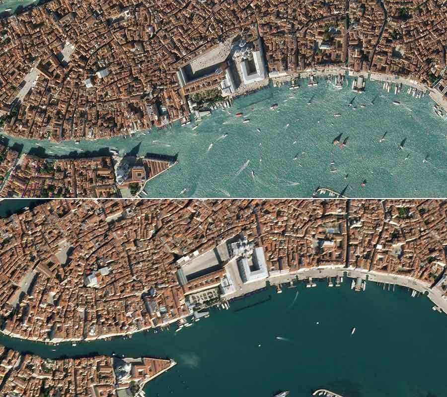 Combinación de fotos creada el 19 de marzo utilizando imágenes de satélites obtenidas por Maxar Technologies que muestran botes en las aguas de la plaza San Marcos, en Venecia, Italia, antes y después de la cuarentena decreetada por el coronavirus.  Satellite image ©2020 Maxar Technologies / AFP